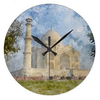 Taj Mahal in Agra India - Digital Art Watercolor Large Clock