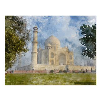 Taj Mahal in Agra India - Digital Art Watercolor Postcard