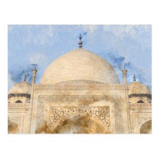 Taj Mahal in Agra India - Digital Art Watercolor Postcard