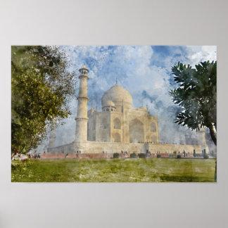 Taj Mahal in Agra India - Digital Art Watercolor Poster
