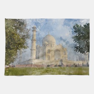 Taj Mahal in Agra India - Digital Art Watercolor Tea Towel