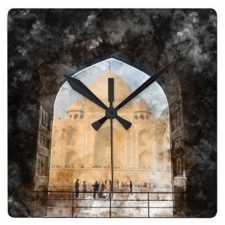 Taj Mahal in Agra India Square Wall Clock