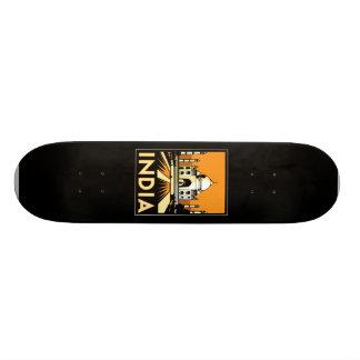 taj mahal india art deco retro poster skate board