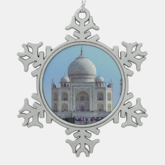 Taj Mahal, India Snowflake Pewter Christmas Ornament