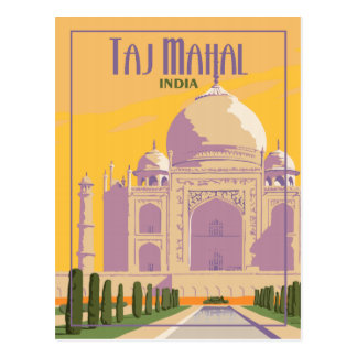 Taj Mahal India - Vintage Travel Postcard