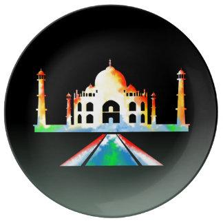Taj Mahal Watercolour Painting Porcelain Plates