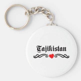 Tajikistan Tattoo Style Basic Round Button Key Ring