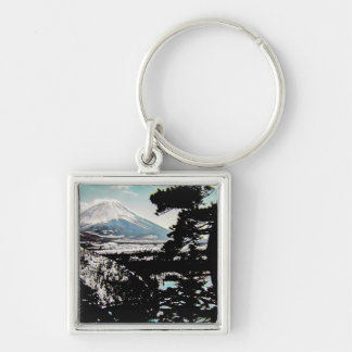 TAKAGI Glass Magic Lantern Slide FUJIYAMA Silver-Colored Square Key Ring