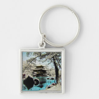 TAKAGI Glass Magic Lantern Slide KINKAKUJI GARDENS Silver-Colored Square Key Ring