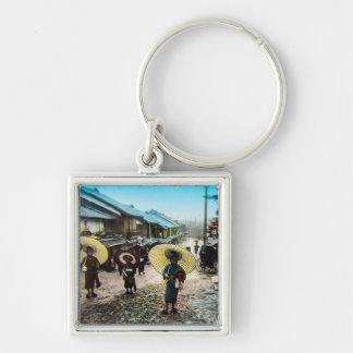 TAKAGI Glass Magic Lantern Slide School Children Silver-Colored Square Key Ring
