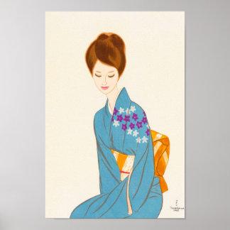 Takasawa Keiichi tender japanese lady portrait art Print