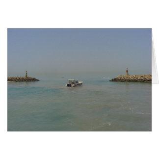 Take a break - boat leaving the harbor greeting card