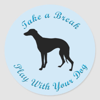 Take A Break (Whippet) Classic Round Sticker