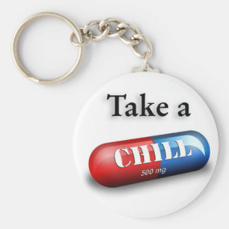 Take a Chill Pill Basic Round Button Key Ring