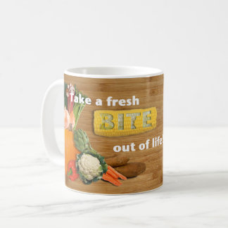 """Take a fresh bite out of life!"" Vegetables Mug"