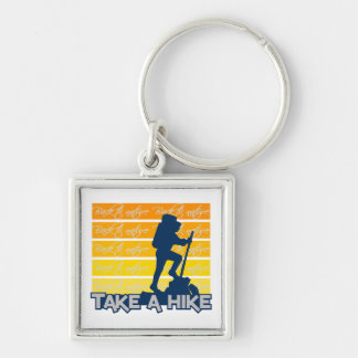 Take a hike key chain, customizable Silver-Colored square key ring