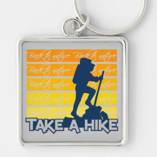 Take a hike key chain, large Silver-Colored square key ring