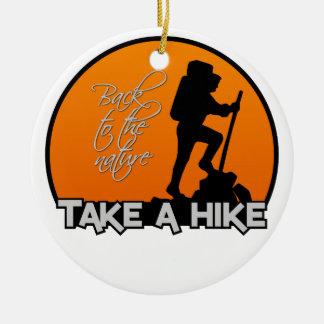 Take a Hike ornament, customizable Round Ceramic Decoration