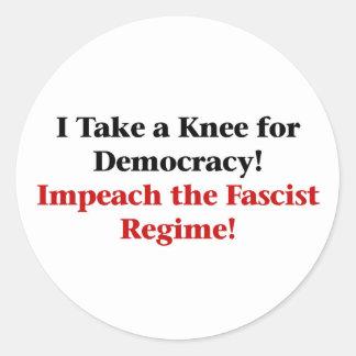 Take a Knee for Democracy Classic Round Sticker