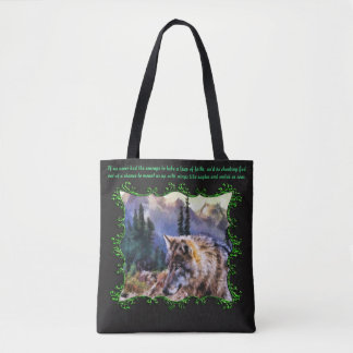 Take a leap of faith..Green and Black Tote Bag