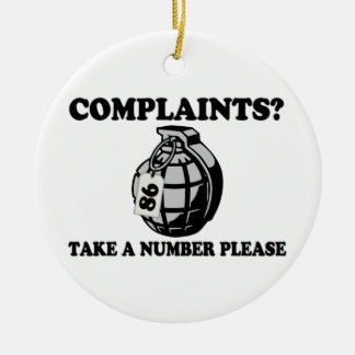 Take A Number Hand Grenade Double-Sided Ceramic Round Christmas Ornament