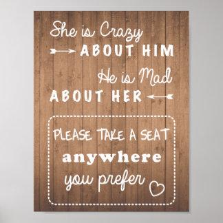 Take a seat wedding sign wood grain or black poster