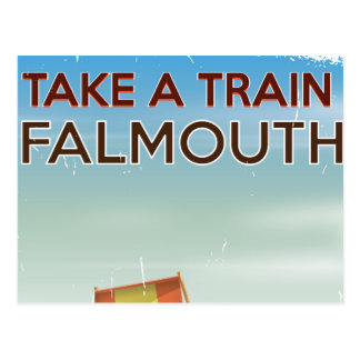 Take a Train Falmouth Cornwall holiday poster Postcard