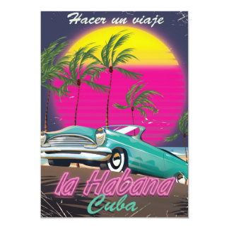 Take a Trip to Cuba reto 1985 poster Card