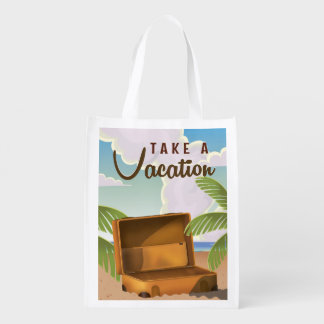 Take a Vacation vintage travel poster Reusable Grocery Bag