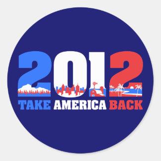 Take America Back 2012 Classic Round Sticker