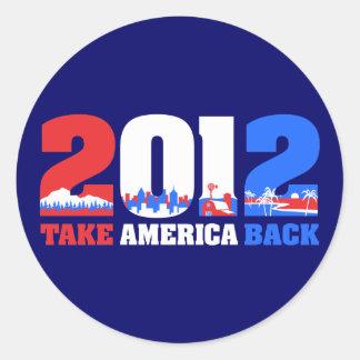 Take America Back 2012 Round Sticker