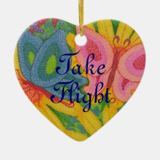 Take Flight Dual Butterfly Heart Shaped Ornament