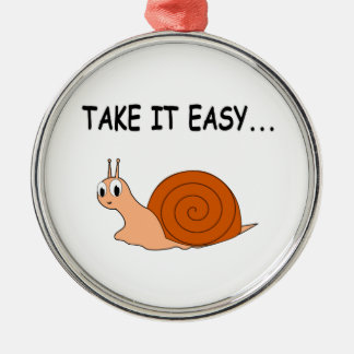 Take It Easy Cute Cartoon Snail Silver-Colored Round Decoration