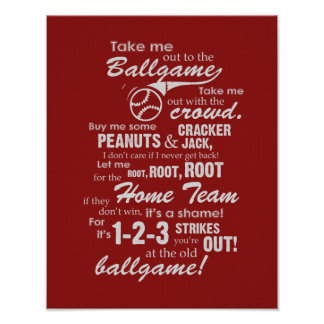 Take Me Out To The Ballgame - Red Poster