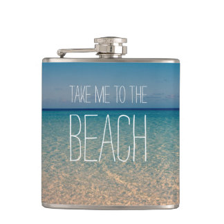 Take Me to the Beach Ocean Summer Blue Sky Sand Flasks