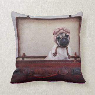 """Take me with you"" Pug Puppy Throw Pillow. Cushion"