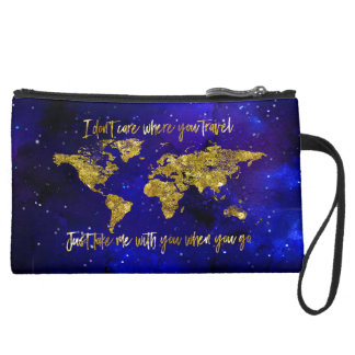 """Take me with you when you go"" Map Wristlet Purse"