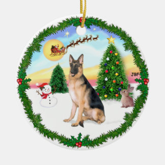 Take Off -  German Shepherd Round Ceramic Decoration