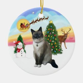 Take Off - Snow Shoe Cat Ceramic Ornament