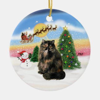 Take Off - Tortie Persian cat Round Ceramic Decoration