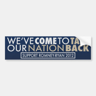 Take Our Nation Back Romney-Ryan Blue Auto Decal