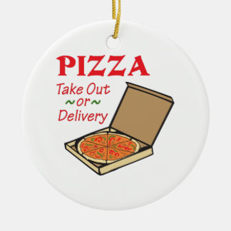 TAKE OUT OR DELIVERY ROUND CERAMIC DECORATION