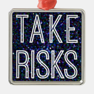 Take Risks Blue Ornament