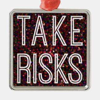 Take Risks Red Silver-Colored Square Decoration