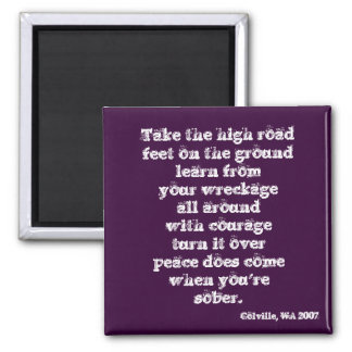 Take the high road square magnet
