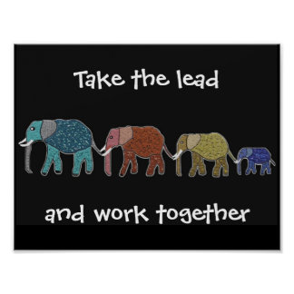 Take the Lead Elephants Motivational Poster