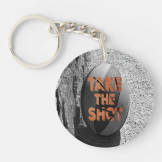 Take the Shot Basketball Quote Single-Sided Round Acrylic Key Ring