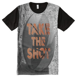 Take the Shot Vintage Basketball All-Over Print T-Shirt