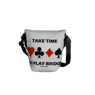 Take Time To Play Bridge (Four Card Suits) Messenger Bags