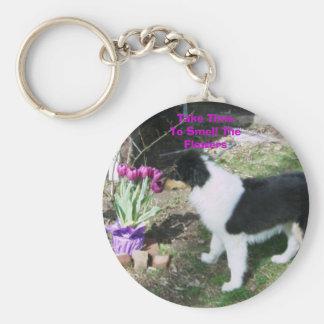 Take TimeTo Smell TheFlowers Basic Round Button Key Ring